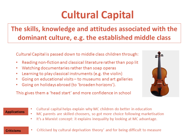 the definition of the educational success and the cultural capital Bourdieu's concept of cultural capital deigned to depict the differences between educational attainment, achievement and availability by relating academic success ie, the specific profits which children from the different class fractions can obtain in the academic market (inglis 2004 pp 118-126.